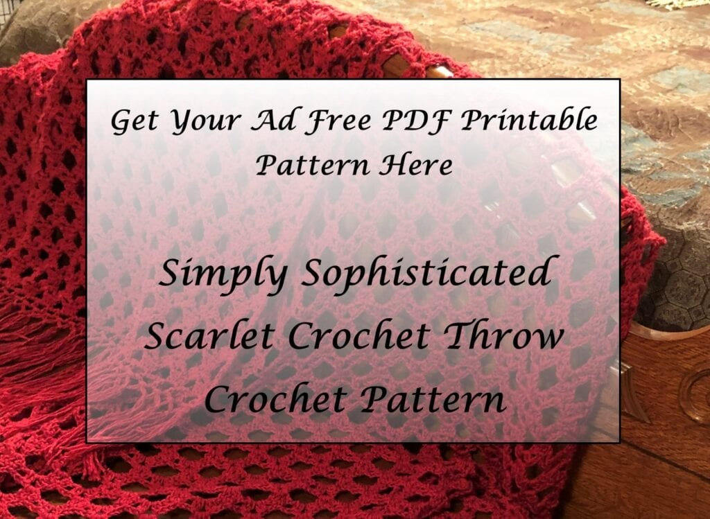 Simply Sophisticated Scarlet Crochet Throw Pattern Printable