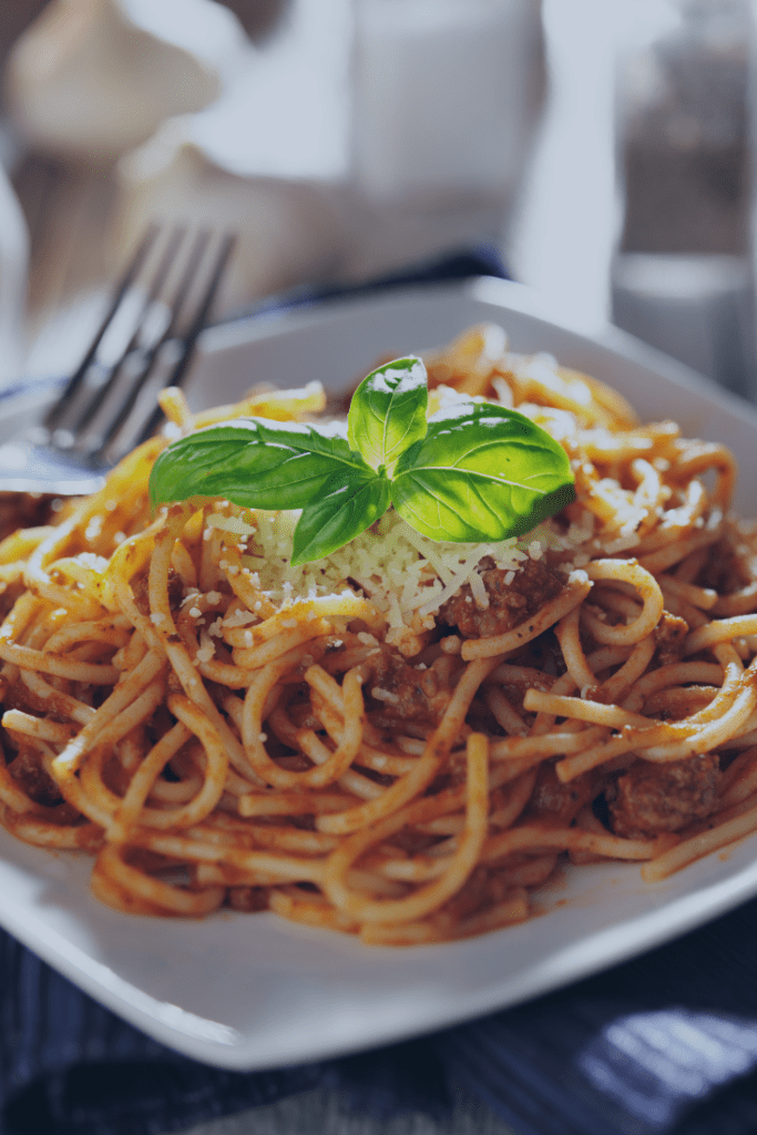Delicious Homemade Spaghetti Sauce on Cooked Pasta