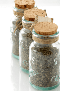 Dried Herb Spice Mix in Glass Jars