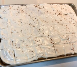 Half Sheet Pan of Cake Bars Frosted