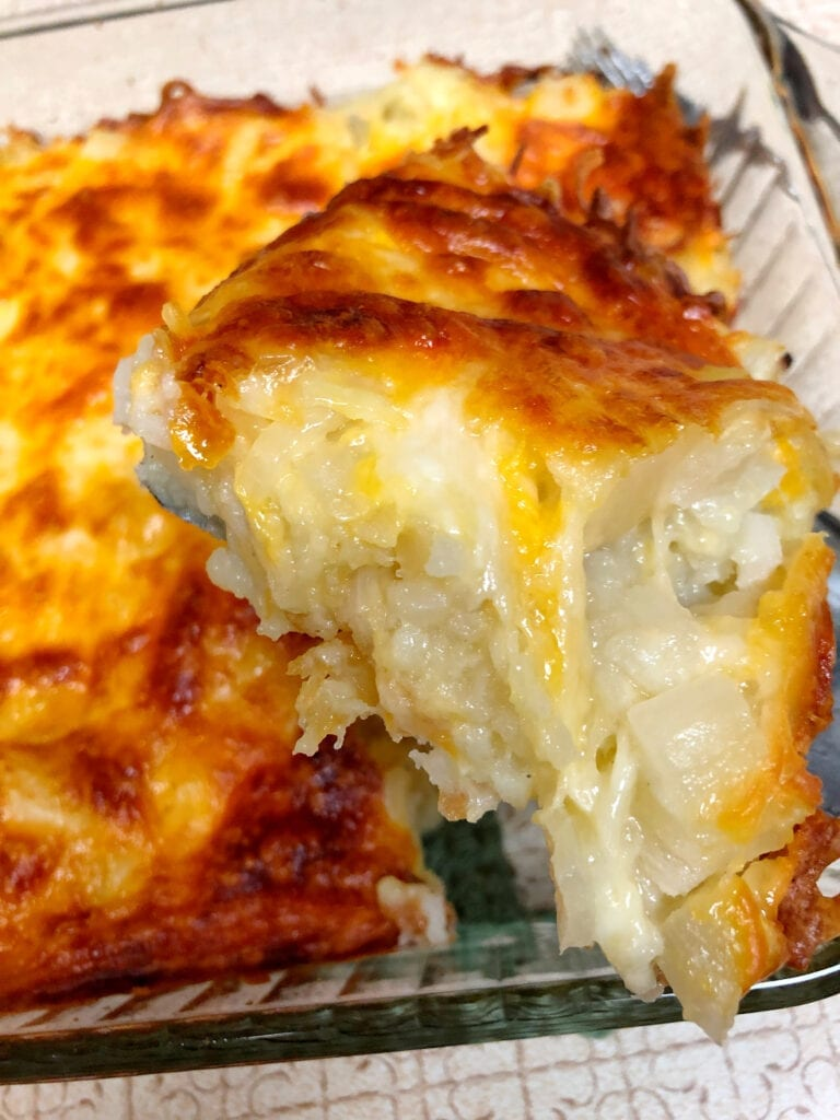 Serving the Restaurant-Style Hash Brown Casserole from the Baking Dish