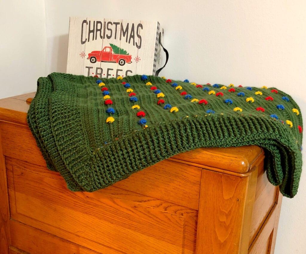 Holiday Blanket Folded Showing Ribbed Crochet Border