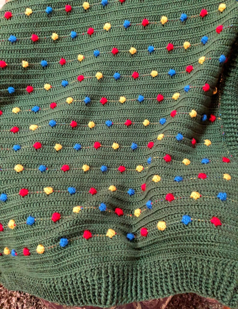 Close up of Crochet Bobble Stitch for Holiday Blanket Pattern