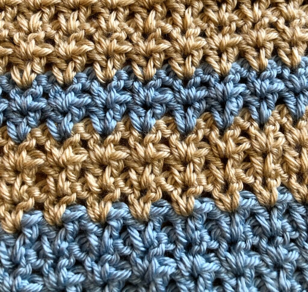 Crochet V-Stitch Sample in Tan and Blue