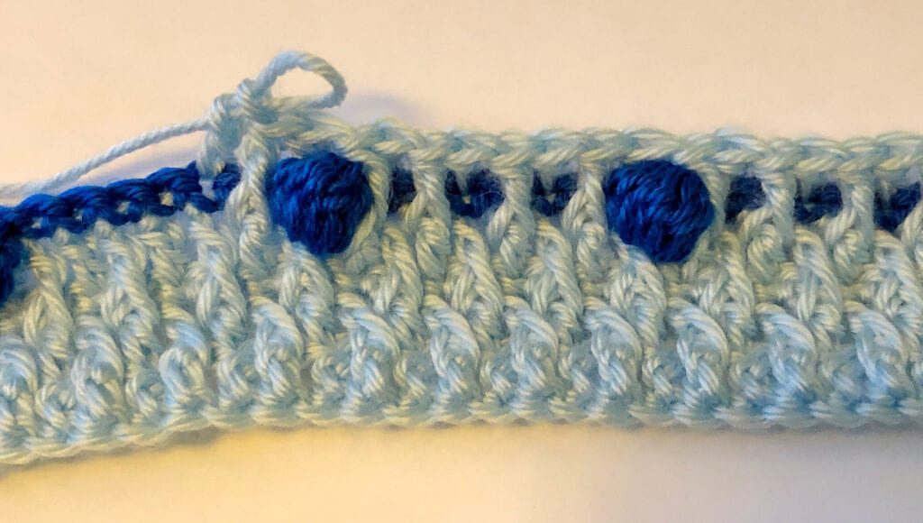 First Row of bobble Stitches after the Alpine Stitch