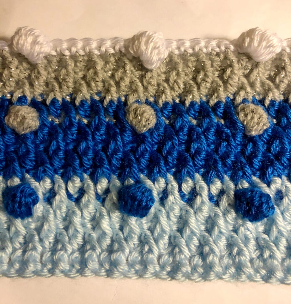 Crocheting with the Fourth Color of Yarn in the Bobble Stitch Row