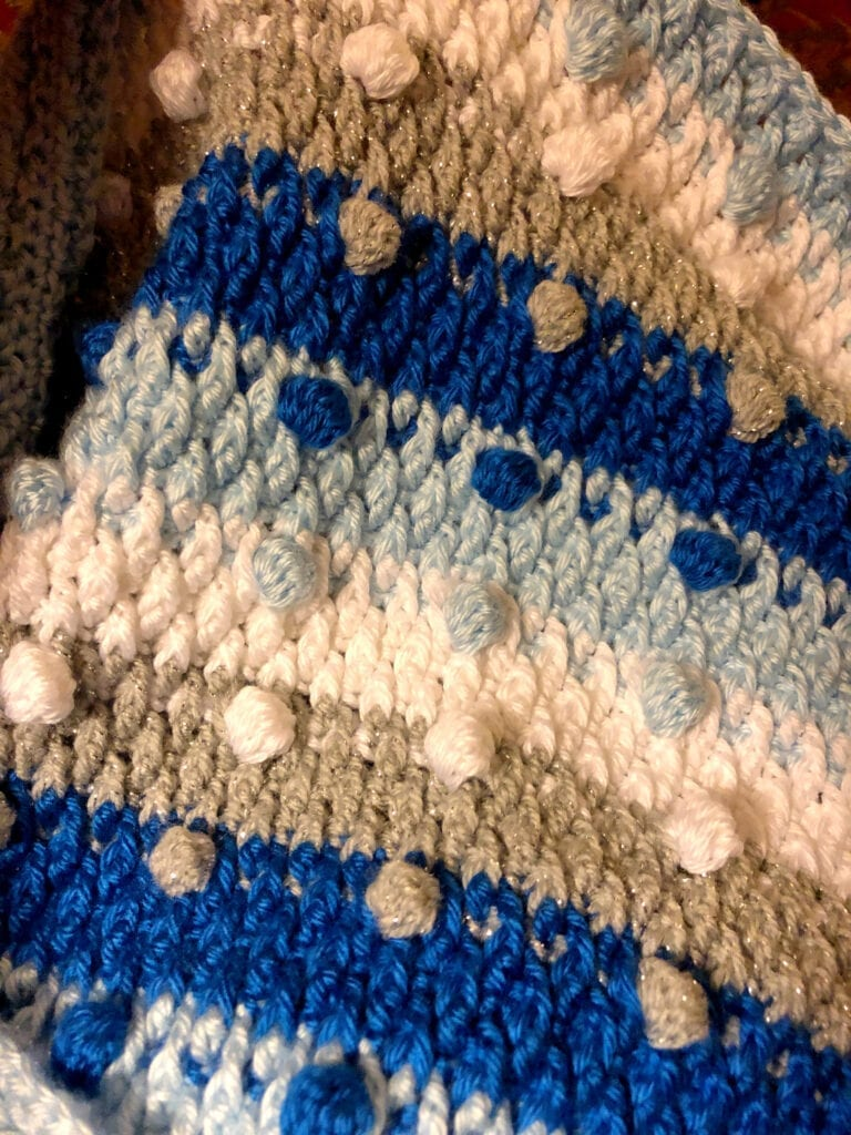 Bobble Blanket Decked in Blue without Crochet Border