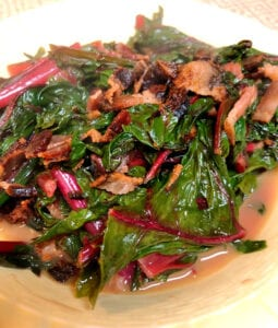 Sauteed Beet Greens in a Serving Bowl