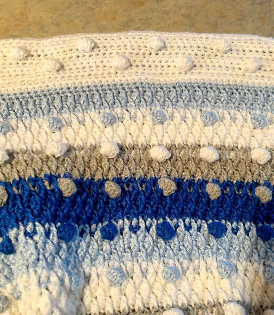 Close up of Bobble Stitches, Alpine Stitches, and Crochet Border