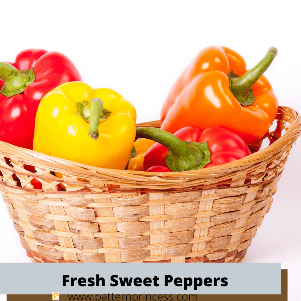 Fresh Sweet Peppers in Basket