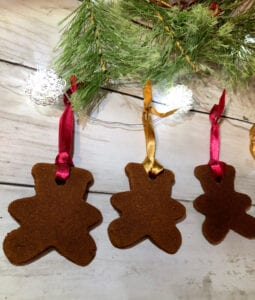 Applesauce Cinnamon Ornaments Displayed with Ribbon