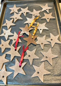 Baked Homemade Ornaments on Cookie Sheet