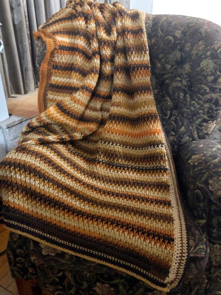 Latte Delight Crochet Blanket On High Backed Chair