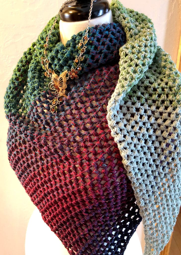 Crochet Lacy Shawl with Butterfly and Faerie Necklace