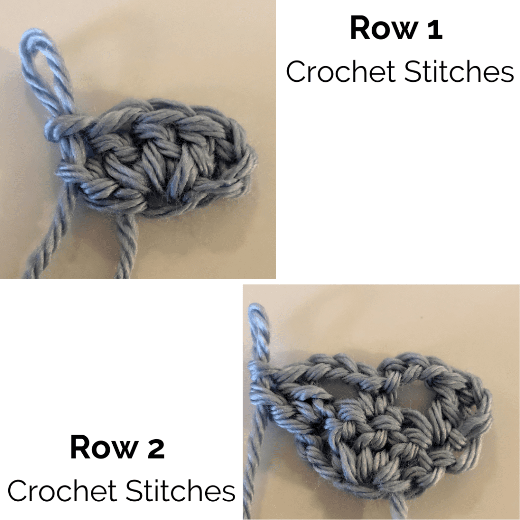 Crochet Stitch Photos for Rows 1 and 2