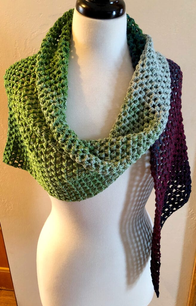Lacy Scarf Worn over the Shoulders
