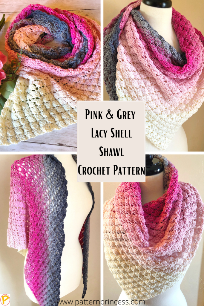 Pink and Grey Lacy Shell Shawl Crochet Pattern