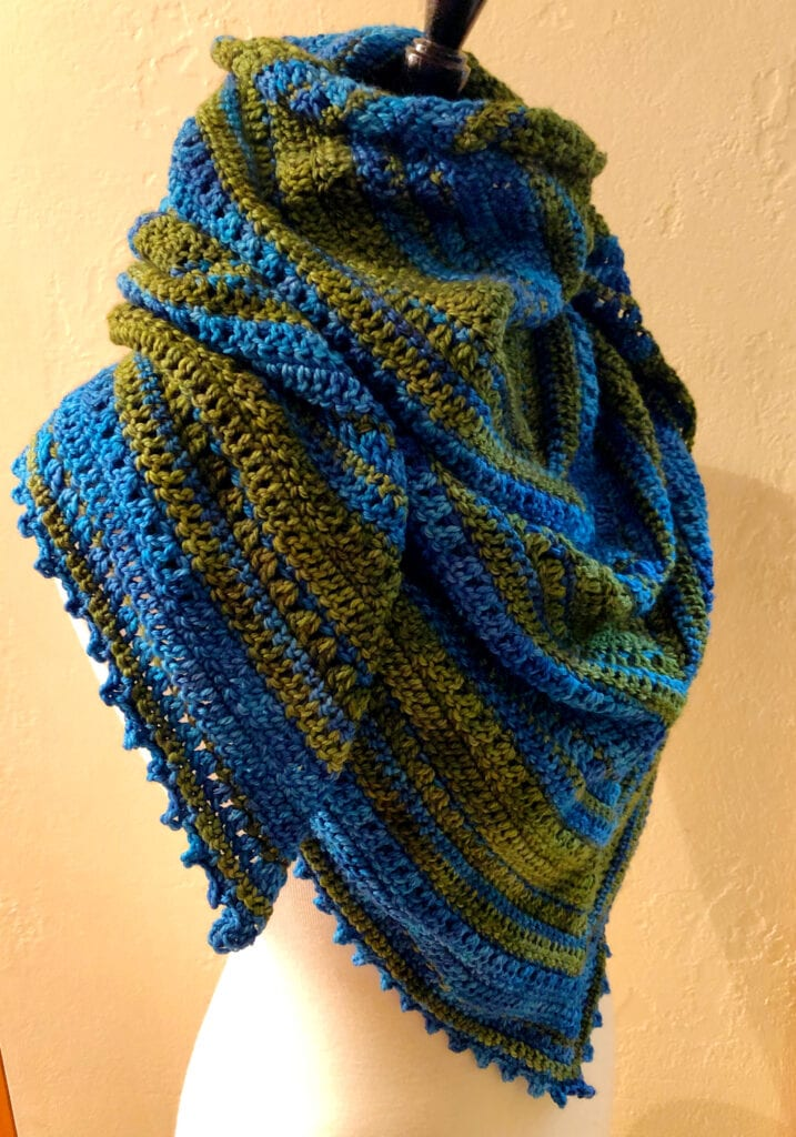 Triangle Shawl Displayed with Sides Around Neck