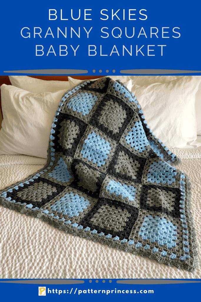 Blue Skies Granny Squares Baby Blanket