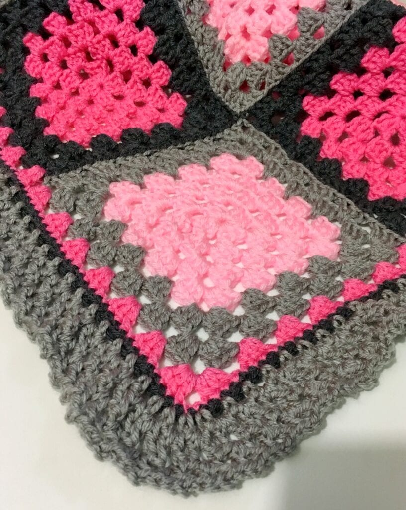 Crochet Border Showing Petal Pink and Dusty Grey Square