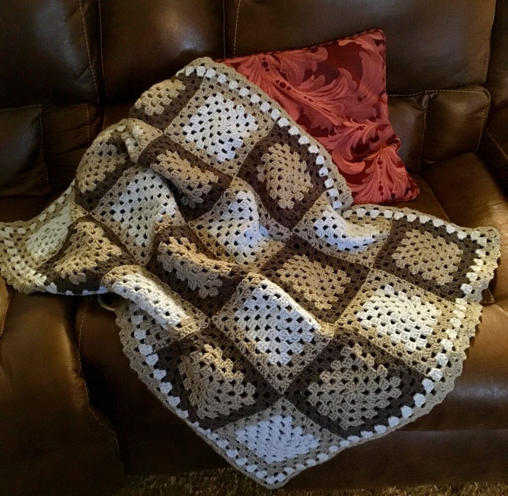 Easy Baby Blanket for a Boy Displayed on Sofa
