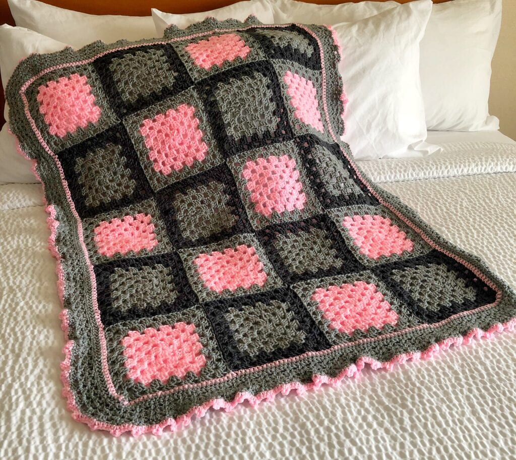 Girl Pink and Grey Baby Blanket