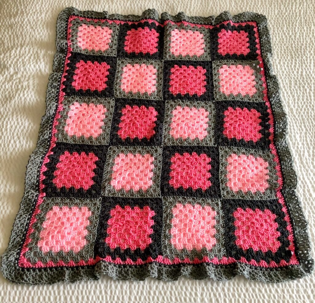 Granny Square Blanket Laying Flat