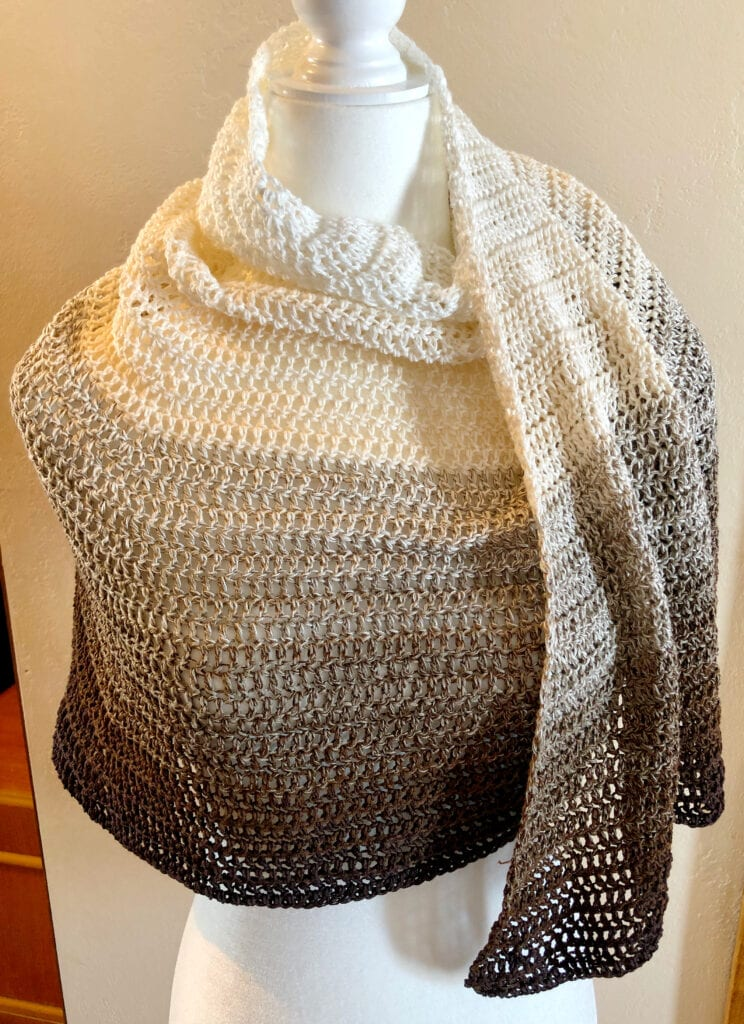 Lacy Crochet Shawl With One End Showing