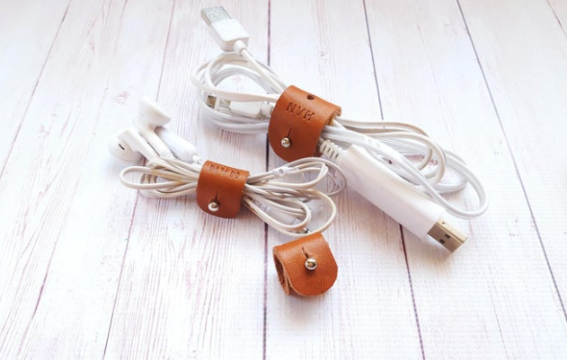 Personalized Leather Wire Cord Organizer