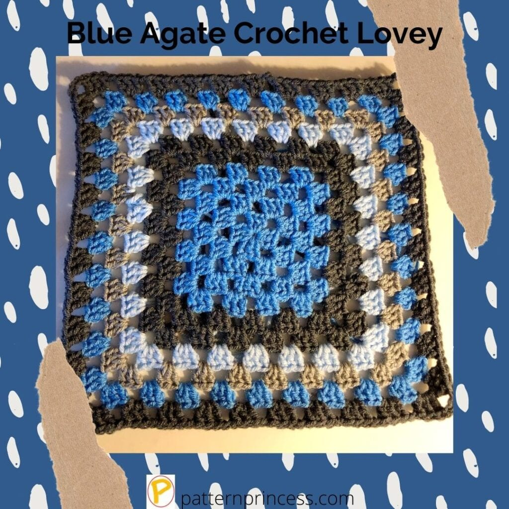 Blue Agate Crochet Lovey 1