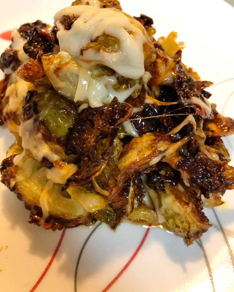 Crispy Brussels Sprouts Side Dish with Mozzarella Cheese