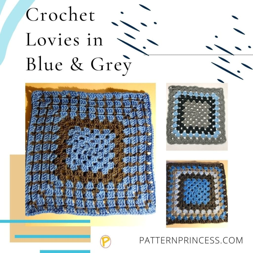 Crochet Lovies in Blue and Grey