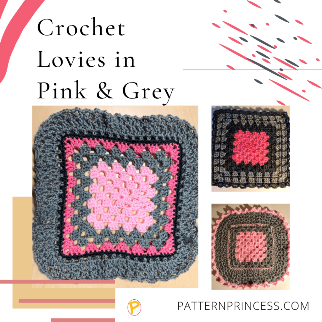 Crochet Lovies in Pink and Grey