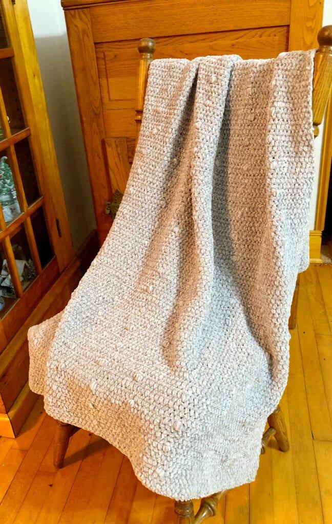 Chunky Crochet Velvet Bobble Blanket On Chair
