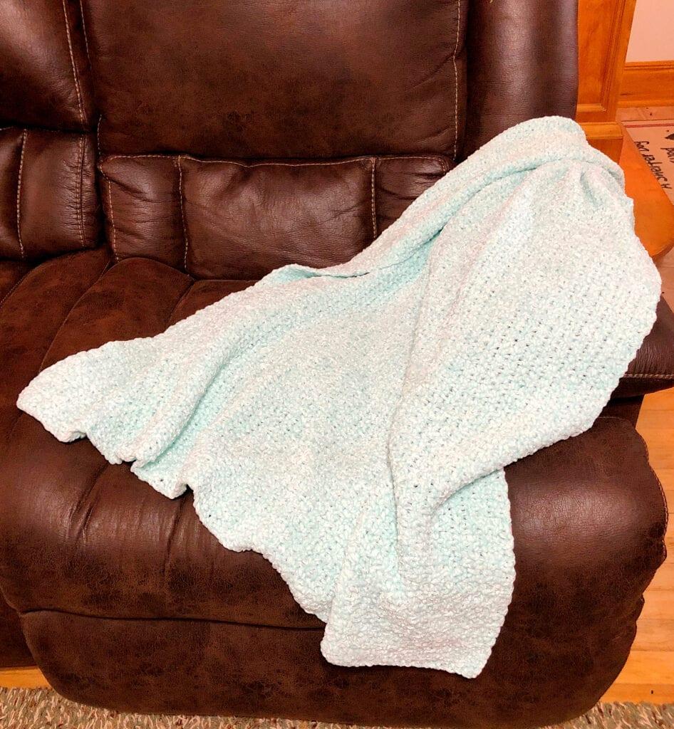 Crochet Soft Chunky Blanket on Sofa