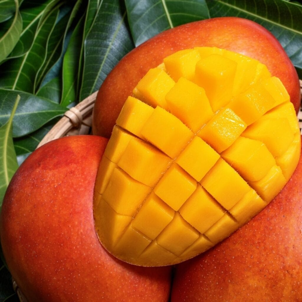 Mango Cut in Half and Diced