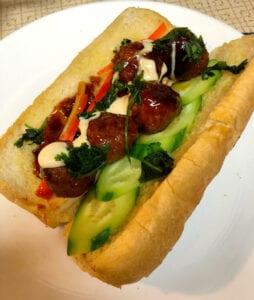 Assembling the Meatball Sandwich