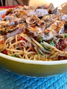 Bruschetta Chicken Pasta with Balsamic Vinegar Glaze